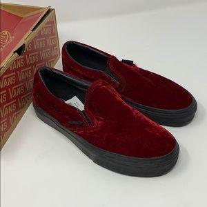 VANS classic slip on red velvet shoes Size 5 6.5